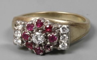 Ladies ring with diamonds and rubies