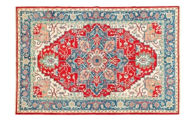 Large and original Kazak (South Caucasus) circa 1985 Dimensions. 297 x 206 cm Technical specifications. Woollen velvet on cotton foundations Ruby field with geometric polychrome floral polychrome decoration decorated with a large central medallion with...