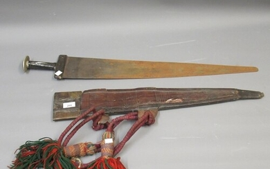 Large antique African Takouba sword with leather scabbard