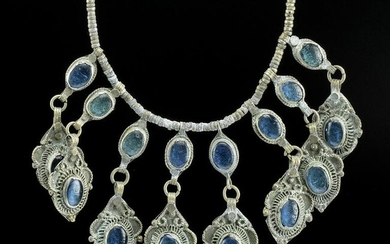 Late 19th C. Indian Nickel Silver & Glass Necklace