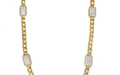 Long Gold and Diamond Curb Link Chain Necklace