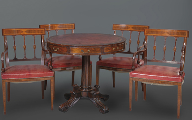 Lot formed by: English style drum table with...