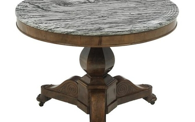 Louis-Philippe Mahogany & Marble-Top Center Table