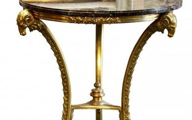 Louis XVI Style Bronze Mounted Table with Marble Top