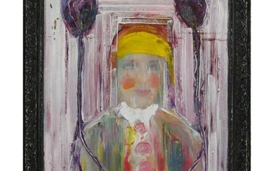 Mid-Century Modern Portrait in Abstract Oil on Canvas