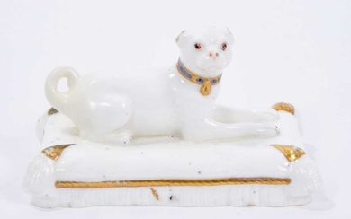 Minton model of a pug, circa 1831-40. Provenance Dennis G Rice Collection. Illustrated: Dennis G Rice, Dogs in English Porcelain of the 19th century, colour plate