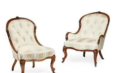 PAIR OF VICTORIAN WALNUT PARLOUR CHAIRS MID 19TH