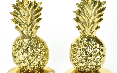 Pair Vintage Gilt Brass Figural Pineapple Bookends