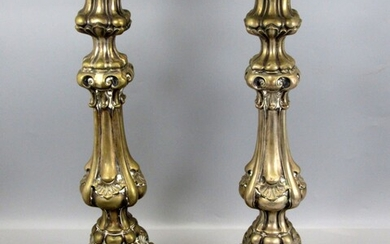 Pair of Antique Highly Impressive Silver Shabbat Candlesticks