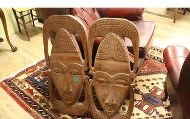 Pair of Carved Afrian Hardwood Wall Plaques (77cm Tall)