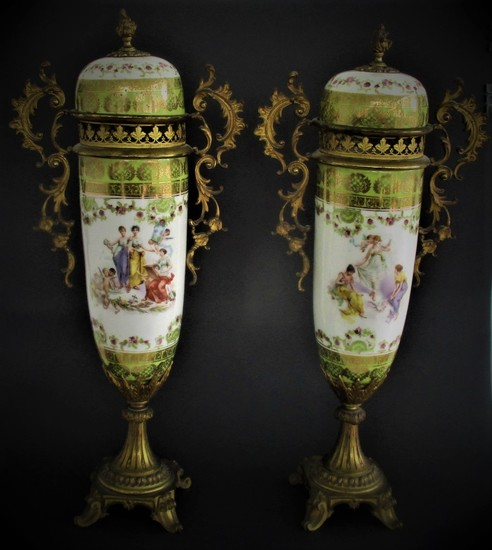 Pair of Large French Sevres Style Gilt Bronze and Porcelain Urns FR3SH