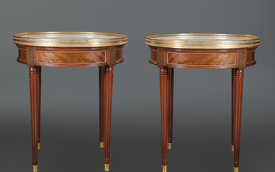 Pair of Louis XVI style circular side tables...