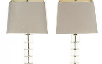 Pair of Modernist Crystal Table Lamps