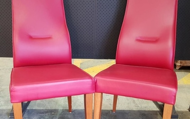 Pair of Red Leather Dining Chairs (BH: 105cm)