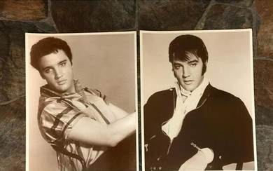 Pair of Sepia Tone Photo Images, Elvis Presley