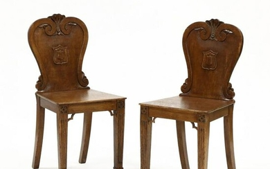 Pair of Vintage English Carved Heraldic Side Chairs