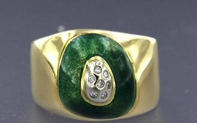 Pesavento - Diamond ring with green enamel