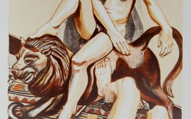 Philip Pearlstein, Two Nude Women with Lion, Lithograph