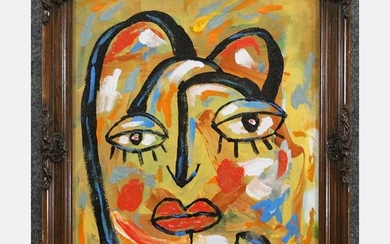 R. MONTI , Mid Century O/c Cat Woman Portrait Abstract