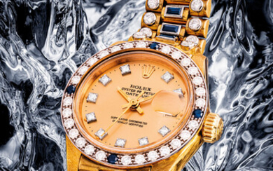 ROLEX. AN IMPRESSIVE AND VERY RARE LADY'S 18K GOLD, DIAMOND AND SAPPHIRE-SET AUTOMATIC WRISTWATCH WITH SWEEP CENTRE SECONDS, DATE AND BRACELET, LADY DATEJUST MODEL, REF. 6906, CIRCA 1979