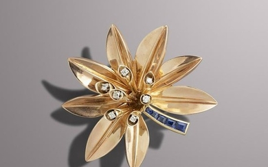 Rose gold sapphire and diamond flower brooch
