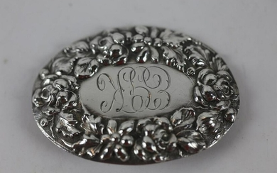 STERLING SILVER FINE HAND CHASED BELT BUCKLE