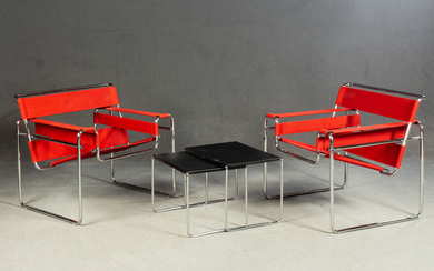 Seating suite: Marcel Breuer, two Wassily Chairs for Knoll International and nestling tables (4)