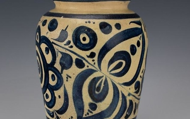 Signed Persian Ottoman Blue & White Pottery Vase