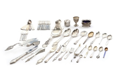 Silver and sterling silver cutlery. 20th century. Weight app. 1602 gr. L. 4.5–25.3 cm. (68)