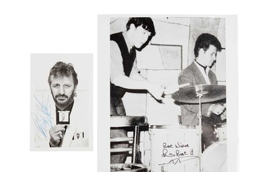Starr, Ringo [and Pete Best] Signed Photograph of The Beatles Drummer
