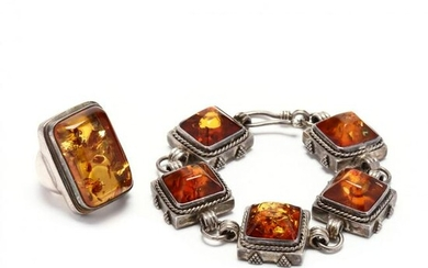Sterling Silver and Amber Bracelet and Ring, Lori Bonn