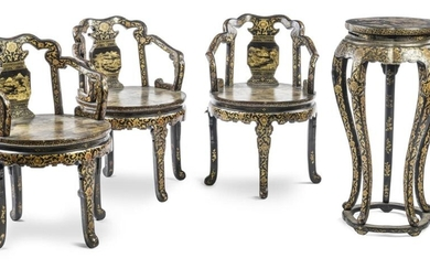 THREE BLACK AND GOLD LACQUER CHAIRS AND A...
