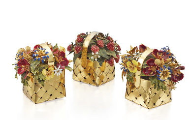 THREE MID 20TH CENTURY SILVER GILT AND ENAMEL TABLE ORNAMENTS, CARTIER,