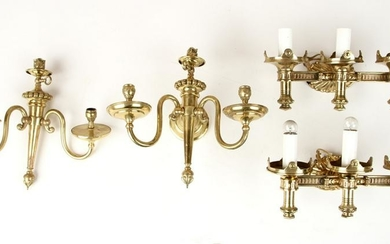 TWO PAIRS OF BRONZE SCONCES CIRCA 1890