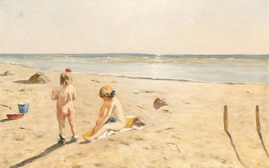 """Th. Friis: """"Sommer Sol"""". Summer sun. Girls on the beach on a summer day. Signed Th. Friis 55 Skagen. Oil on canvas. 43×63 cm."""