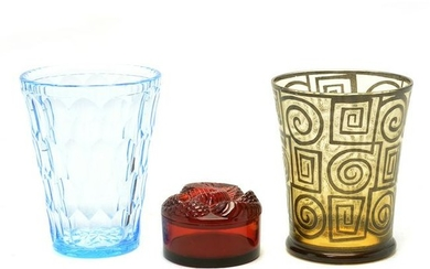 Three Glass Articles Including Lalique.