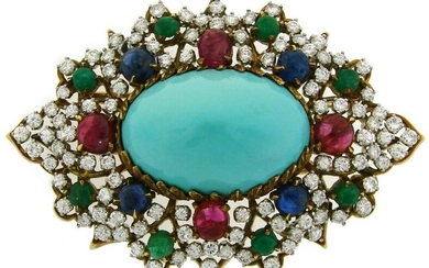 Turquoise Gold BROOCH PIN with 7.50 cts Diamond Ruby