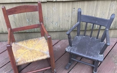 Two Antique 19th C American Child's Rocking Chair
