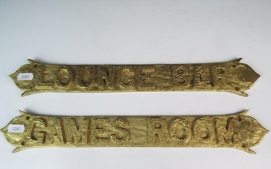 Two Cast Brass pub room signs, 15 inches long.