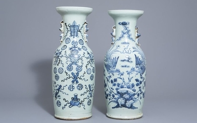 Two Chinese blue and white celadon ground vases...