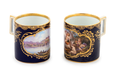 Two Meissen Painted and Parcel Gilt Porcelain Coffee Canns