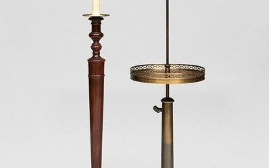 Two Small Brass-Mounted Mahogany Floor Lamps