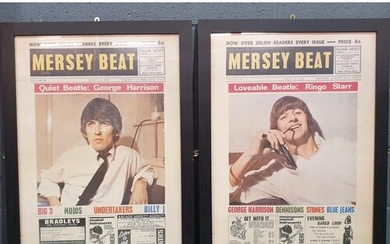 Two framed Mersey Beat posters, each of the reproduction col...