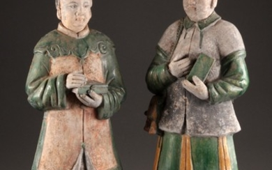 Two large Chinese tomb guard figures, Ming dynasty (2)