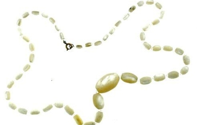 UNIQUE Mother of Pearl & Glass Beaded Necklace Circa