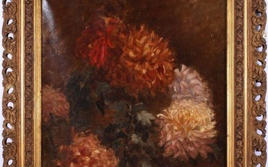 Unclearly signed, Chrysanthemums, canvas dated 1900