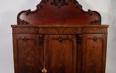 VICTORIAN CARVED AND FIGURED MAHOGANY BREAKFRONT SIDEBOARD, ...