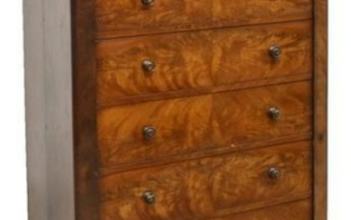 VICTORIAN MAHOGANY SIDE LOCK CHEST OF DRAWERS
