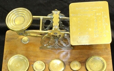 VICTORIAN POSTAL SCALE - high quality brass postal scale mar...