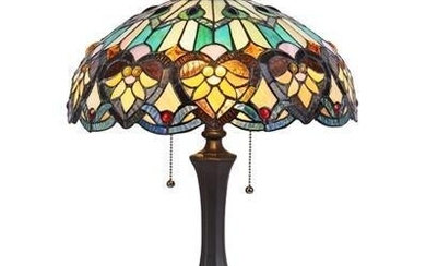 Victorian Tiffany-style Stained Glass Table Lamp